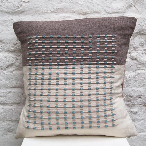 Grey & Blue Cushion handwoven cushion by Zoe Acketts, available to buy online or at Golden Hare Gallery in Ampthill, Bedfordshire