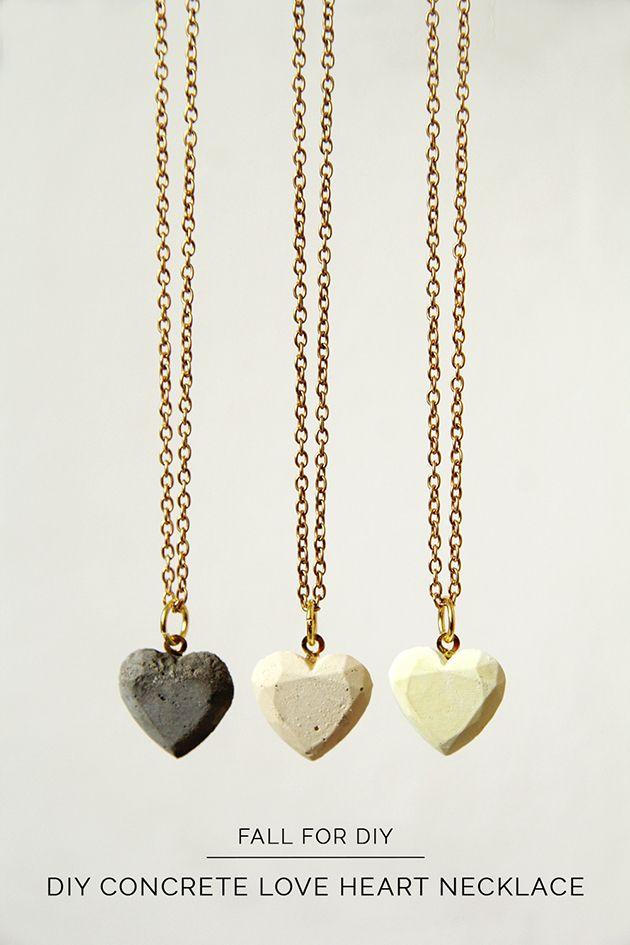 DIY Concrete Love Hearts Necklace