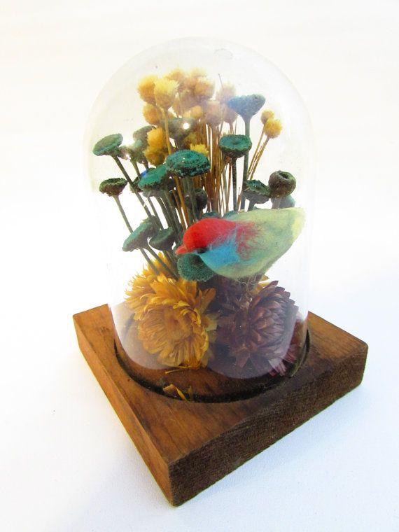 Vintage Dried Flower Arrangement Under Glass by FoxLaneVintage