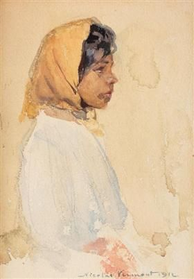 Gypsy Woman with Yellow Headscarf - Nicolae Vermont