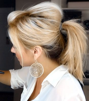 Ways to Wear Hair Up | Check out our new video for a fun easy messy ponytail look.. Try it ... and those earrings!
