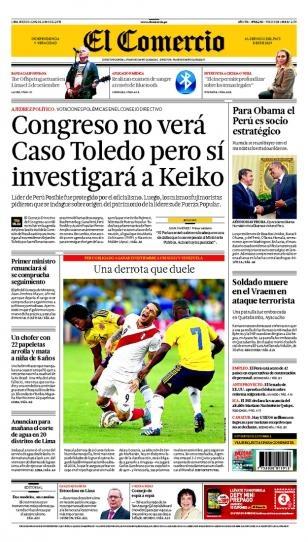 Miércoles 12 de JUNIO de 2013  (PORTADA DE EL COMERCIO)