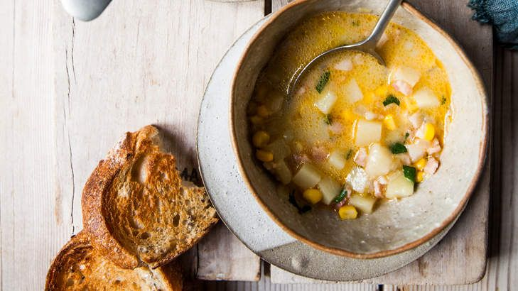 The smoked paprika and bacon add a whiff of campfire smokiness to this chunky chowder. You can replace the milk with sour cream, creme fraiche or cream before serving if you prefer.