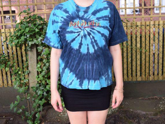 Vintage batik T-shirt turquoise EV29 by FamousApe on Etsy