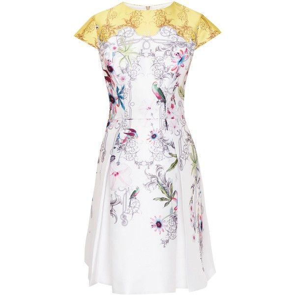 Ted Baker Reliat Passion Flower Skater Dress (492.770 COP) ❤ liked on Polyvore featuring dresses, sale women dresses, floral dresses, white fit-and-flare dresses, flower printed dress, floral fit-and-flare dresses and flower print dress