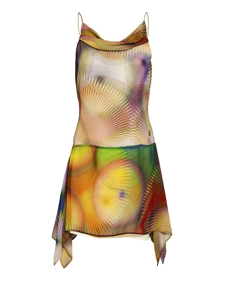 Circular print cowl neck dress, available on www.46664fashion.com
