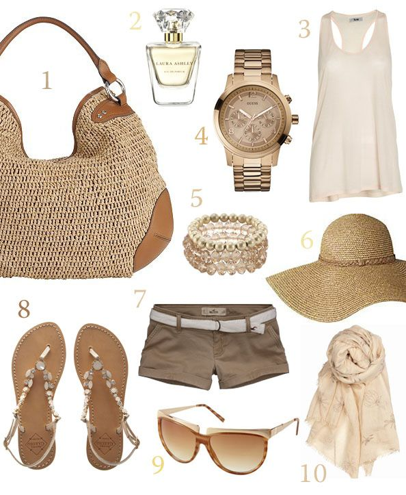 beach outfit with fabulous straw tote bag