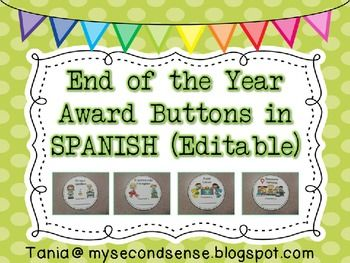 37 best certificatesawards images on pinterest classroom ideas end of the year award buttons in spanish editable yadclub Images