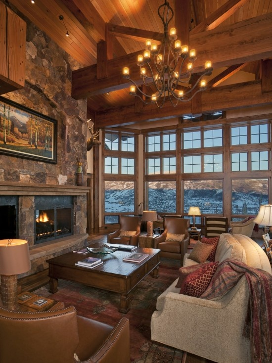 I can see myself curled up on that couch in front of the fireplace with the mountains as a backdrop!