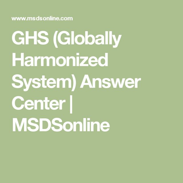 GHS (Globally Harmonized System) Answer Center | MSDSonline