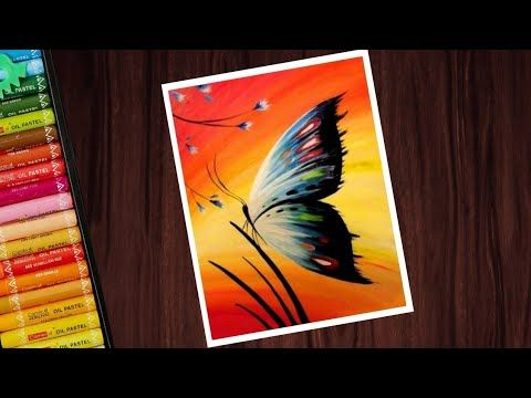 How To Draw Easy Butterfly Scenery Drawing With Oil Pastels Step By Step Youtube Oil Pastel Drawings Drawing Sunset Oil Pastel