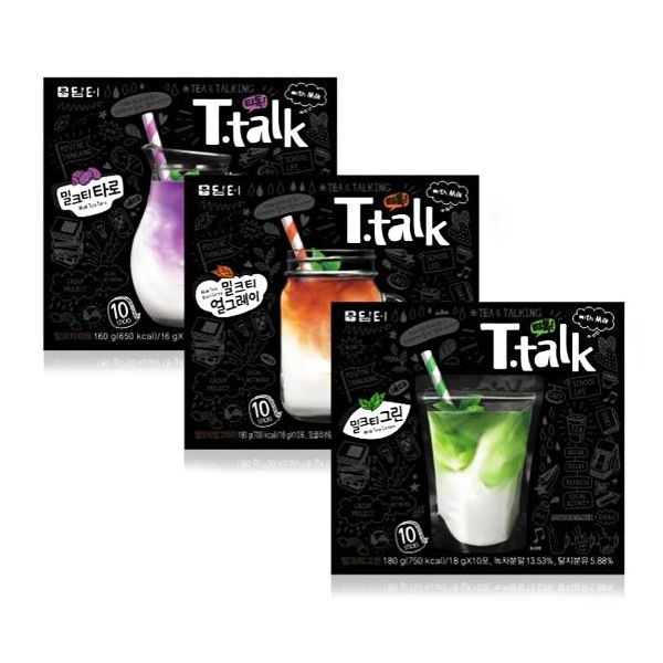 "[""Damtuh"" T.talk Milk Tea Taro / Green Tea / Earl Grey Tea Flavor]"