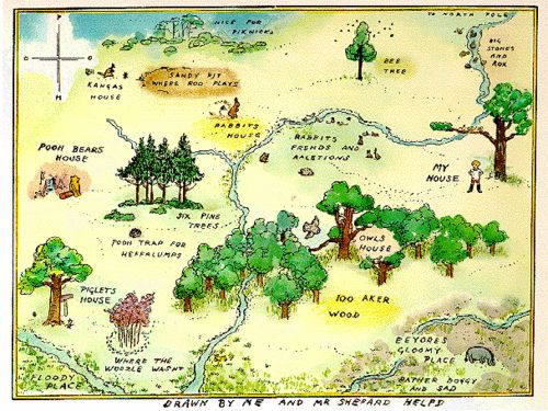 """A.A. Milne's Winnie the Pooh The map of the Hundred Acre Wood appears in the first Winnie-the-Pooh book entitled, wait for it, Winnie-the-Pooh. Created by E.H. Shepard (who also illustrated The Wind in The Willows), the map is meant to appear drawn by Christropher Robin, with """"Drawn by me and Mr Shepard helpd"""" written at the bottom and the cardinal directions on the compass marked as P-O-O-H. The storybook woods are based on the actual Five Hundred Acre Wood in Ashdown Forest, near Milne's…"""