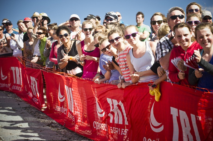 A packed crowd at The Contact Tri Series event in Wanaka - January, Lake Wanaka
