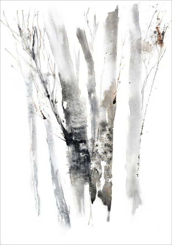 Watercolor Landscape Print Art Simple Art Print Brown Grey