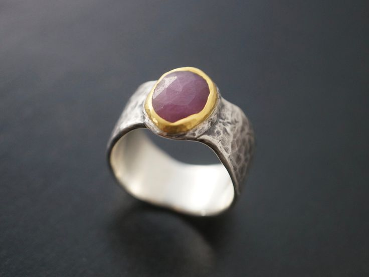 pink sapphire statement ring, size 9.25, raspberry red sapphire, 24K gold, organic design, rough stone, large ring, cocktail ring, unique by mazuloujewellery on Etsy https://www.etsy.com/listing/279554096/pink-sapphire-statement-ring-size-925