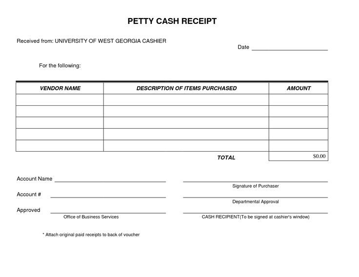 Petty Cash Receipt Form Template very simple and easy to print. I use this form often to send with my A/P checks.
