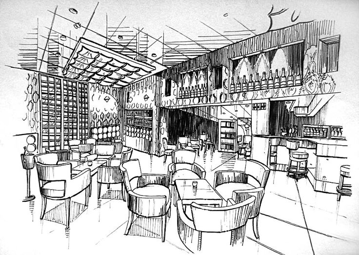 Manual Rendering Sketches of an Interior