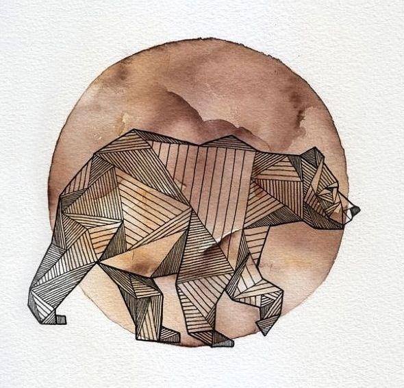 geometric bear against watercolor