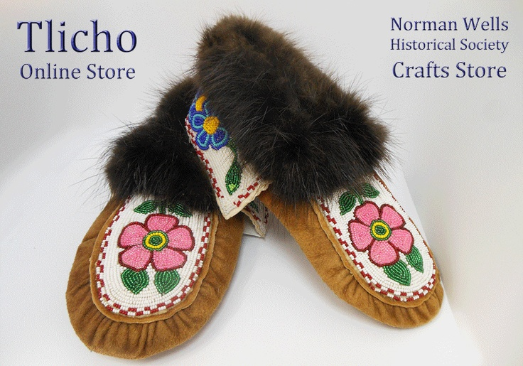 Moccasin Slippers made by Celine McCauley of Tulita, NT from the Norman Wells Historical Society Crafts Store. $430