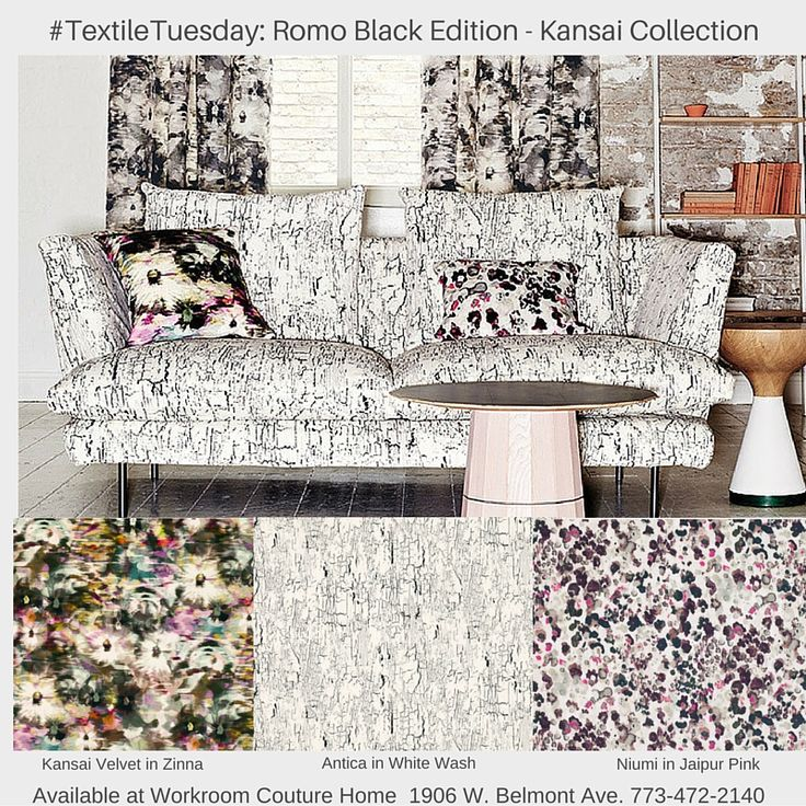 New Romo Black Edition Kansai Fabric Collection. Now available at Workroom Couture Home.
