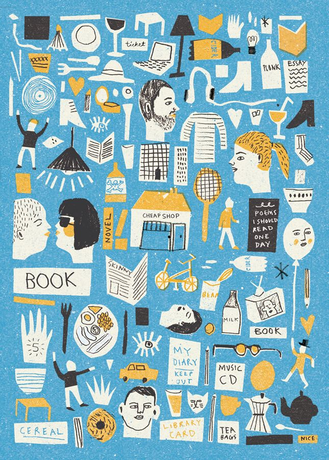 Student Life - Louise Lockhart cut out drawing collage illustration
