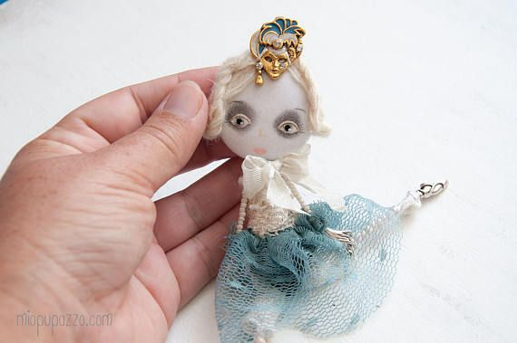 Young Ballerina Art Doll Brooch mixed media collage