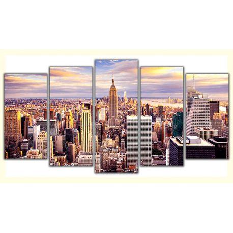 Obraz na płótnie w 5 częściach poliptyk - Nowy Jork #fedkolor #NowyJork #NewYork #obrazzezdjęcia #obraz #zdjęcia #fotografie #zdjęcienapłótnie #wydruk #drukowanie #miasto #architektura #widok #miejski #poliptyk #napłótnie #obraz