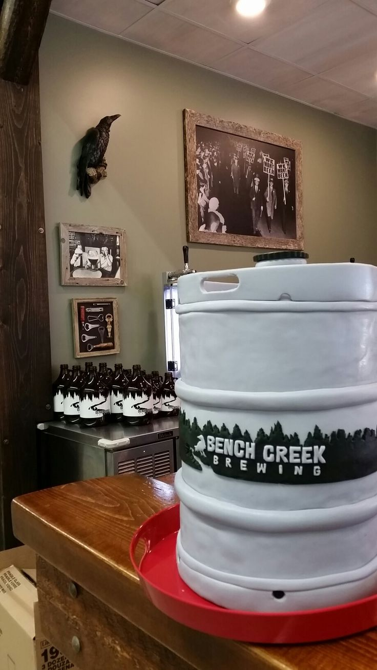 Beer Keg cake for Chuck. Bench Creek Brewing inspired