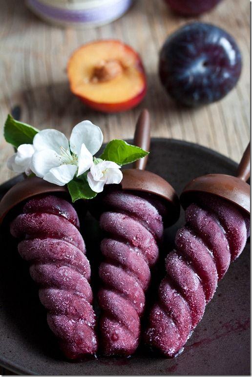 plum sorbet + red wine pops.