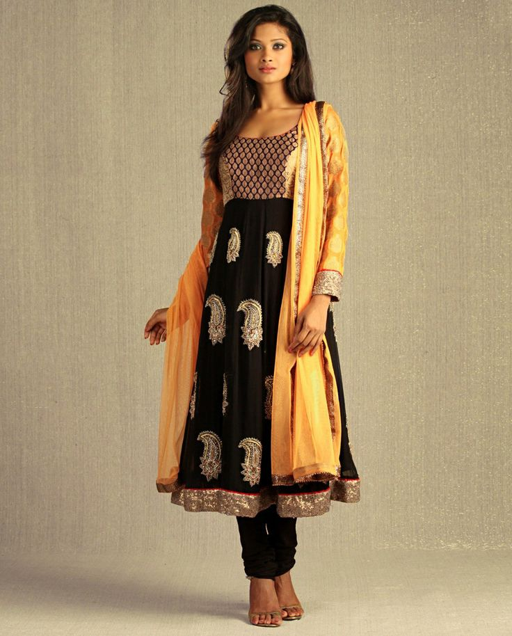 Embellished Black Kalidar Suit with Mango Yellow Net Dupatta by Aneesh Agarwaal - Exclusively In