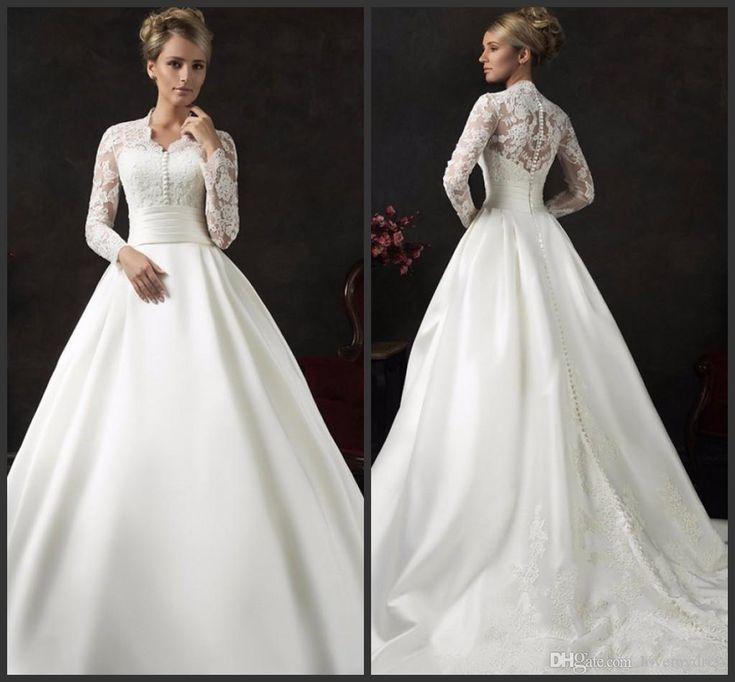 Count Train Wedding Dresses Long Sleeve Iullsion Bodice Sexy Jewel Neck Covered Bottons Elegant Lace Appliques Wonderful Beautiful Hot