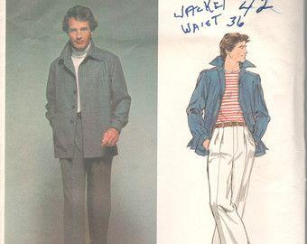 Vogue 1609 1970s MENS Shirt jas en broek patroon Parijs oorspronkelijke Christian Dior volwassen Vintage naaien patroon borst 42 Onbesneden