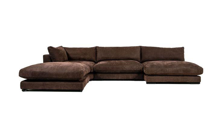 Brun Mammuten modulsoffa i skinn. Anilinskinn, soffa, modul, låg, lounge, djup, rymlig, loveseat, hörn, fotpall, möbler, möbel, inredning, vardagsrum.