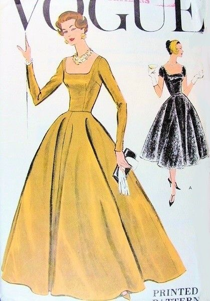 1950s Beautiful Evening Gown Cocktail Dress Pattern Vogue 9280 Flattering Square Neckline and Back Fit and Flare Design Full Skirt Bust 34 Vintage Sewing Pattern