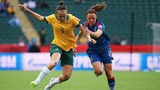 Caitlin Foord #9 of Australia and Jessica Samuelsson #18 of Sweden