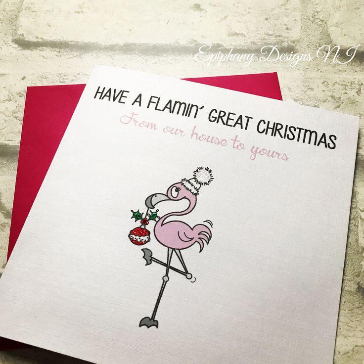 Christmas card with flamingo