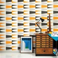 Hemingway Carnival Wallpaper, Black, White & Orange | ACHICA