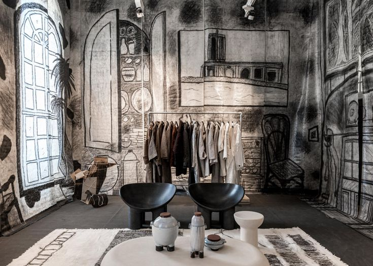 Charcoal sketches cover the walls of The Drawing Room by Faye and Erica Toogood.