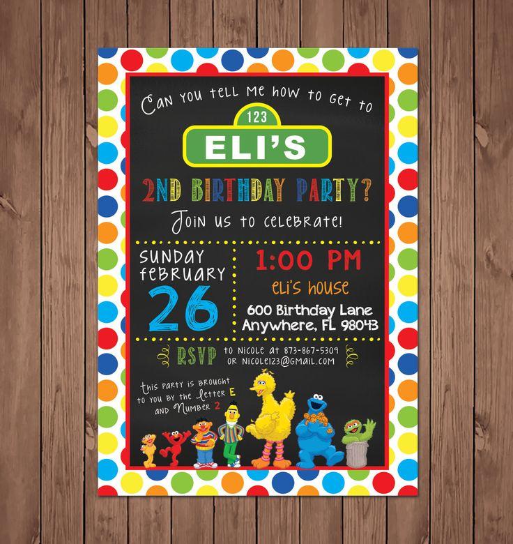 Sesame street birthday invitation, Sesame street birthday, Sesame street party, Elmo birthday party invitation, Elmo Birthday party by bauderdesignstudio on Etsy