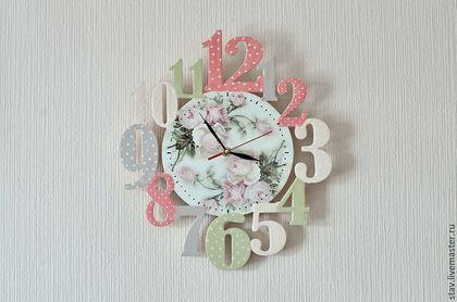 """Часы для дома ручной работы. Ярмарка Мастеров - ручная работа. Купить Часы""""Розовый леденец""""розовый оливковый детская. Handmade. Весна, часы"""