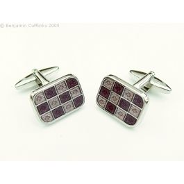 Purple & Mauve 12 Square Cufflinks - They are a shiny rhodium plate featuring a series of dark purple and mauve squares.