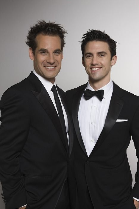 "Adrian Pasdar and Milo Ventimiglia, who played brothers Nathan and Peter Petrelli on ""Heroes.""  Cute :)"