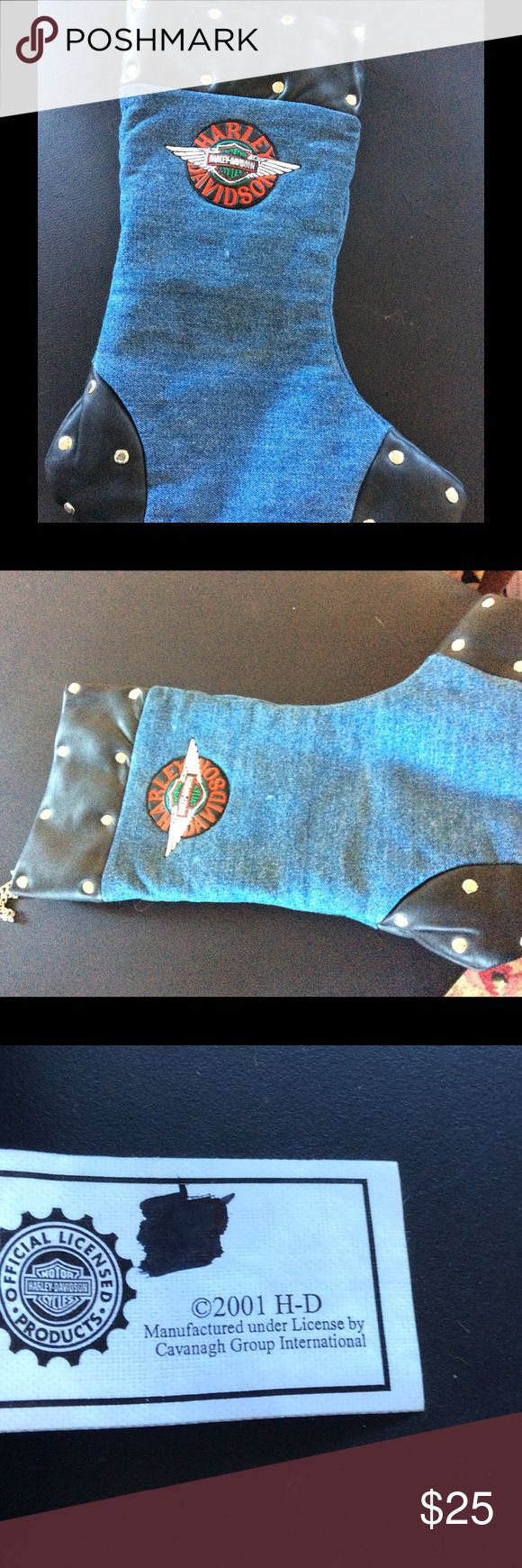 Licensed Harley Davidson Christmas stocking Let your HD/ motorcycle owner have a special stocking just for them:)!! Was only used during the holidays. Has chain loop to hang it up with, with faux leather/rivet trim. Harley-Davidson Other