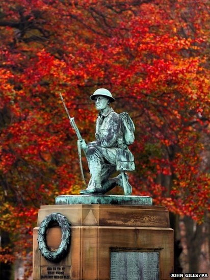 """""""Autumn colours provide a dramatic backdrop to the war memorial in Shildon, County Durham, England, ahead of Armstice Day. """""""