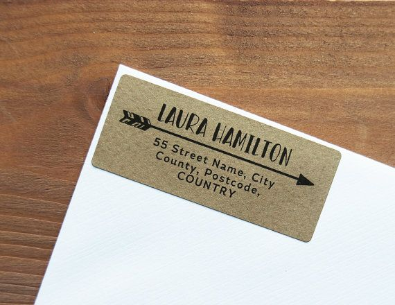 30 Custom Return Address Labels Arrow Personalized Kraft by Azmari