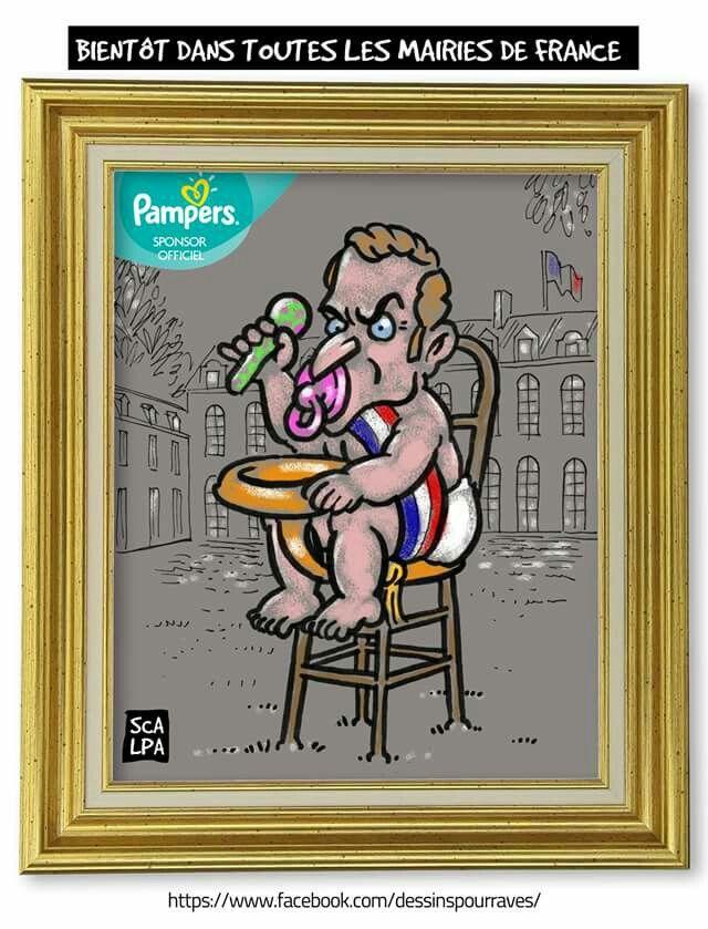Scarpa  (2017-05-06) France:   En exclu Lulu, le portrait officiel du peut-être plus jeune président de la 5ème République, s'il arrive à mettre une beigne, à la grosse teigne vulgaire qui fait rien qu'à l'embêter à la récré... Emmanuel Macron