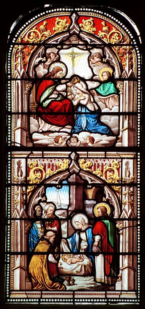 ND De Lestuaire Honfleur Jesus MotherMother MaryStained Glass ChurchChurch WindowsReligious