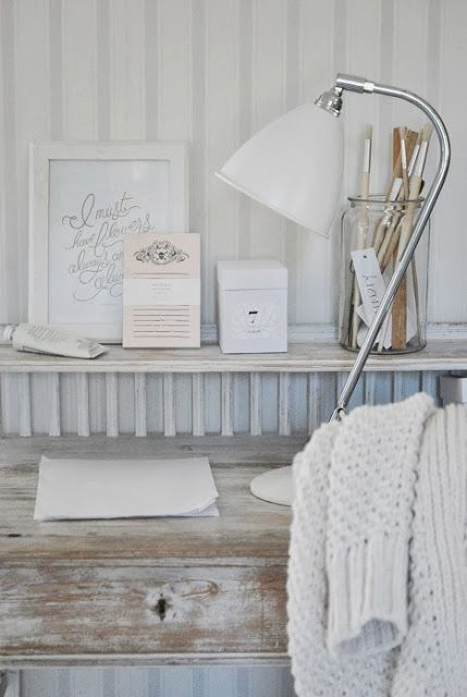 neutral shabby work space | vintage