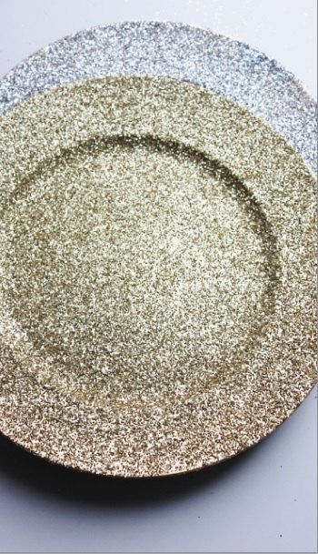 Set of 2 GOLD GLITTER CHARGER Plates Chargers Hand Glittered Tableware Plate Bride Groom Glittery Golden Gatsby Glam Wedding Sparkle Place